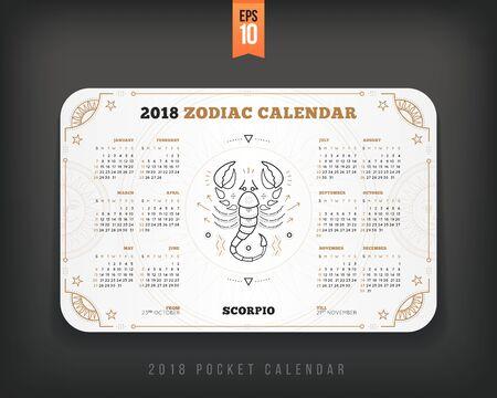 Weegschaal 2018 jaar dierenriem kalender zakformaat horizontale lay-out. Witte kleur ontwerp stijl vector concept illustratie Stock Illustratie
