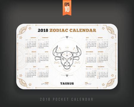 Taurus 2018 jaar zodiac kalender zakformaat horizontale lay-out. Witte kleur ontwerp stijl vector concept illustratie Stockfoto - 89405052