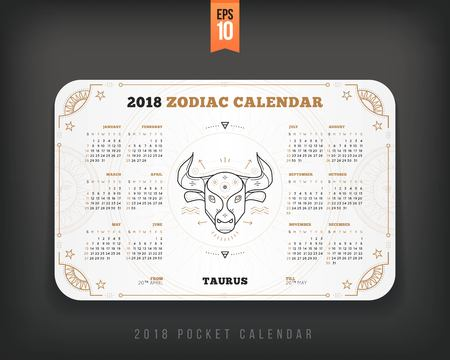 Taurus 2018 year zodiac calendar pocket size horizontal layout. White color design style vector concept illustration