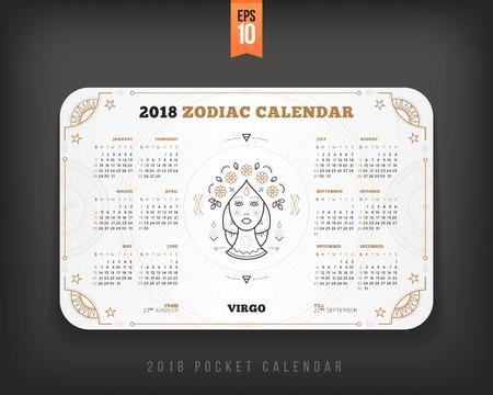 처녀 자리 2018 년 조디악 달력 주머니 크기 가로 레이아웃. 화이트 색상 디자인 스타일 벡터 컨셉 일러스트 레이션