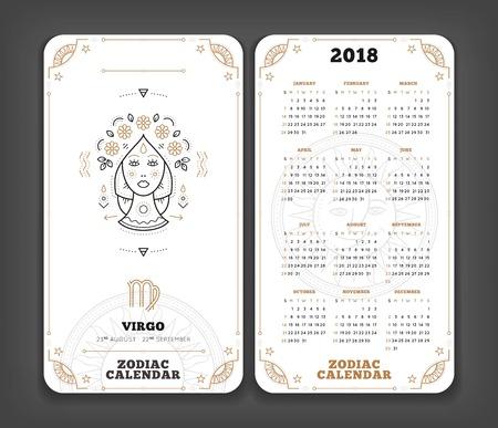 처녀 자리 2018 년 12 궁도 일정 포켓 크기 세로 레이아웃 더블 측면 흰색 색상 디자인 스타일 벡터 개념 그림