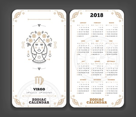 Virgo 2018 year zodiac calendar pocket size vertical layout Double side white color design style vector concept illustration Stok Fotoğraf