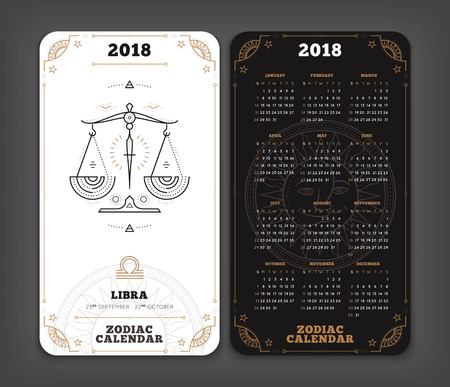 Libra 2018 year zodiac calendar pocket size vertical layout Double side black and white color design style vector concept illustration