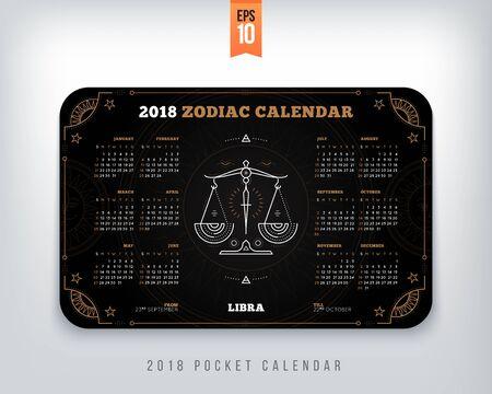 천칭 자리 천칭 자리 2018 년 달력 포켓 크기 가로 레이아웃. 블랙 컬러 디자인 스타일 벡터 컨셉 일러스트 레이션 일러스트