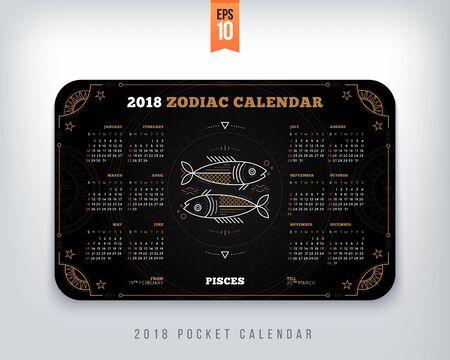물고기 자리 2018 년 조디악 달력 포켓 크기 가로 레이아웃. 검은 색 디자인 스타일 벡터 컨셉 일러스트 레이션 일러스트
