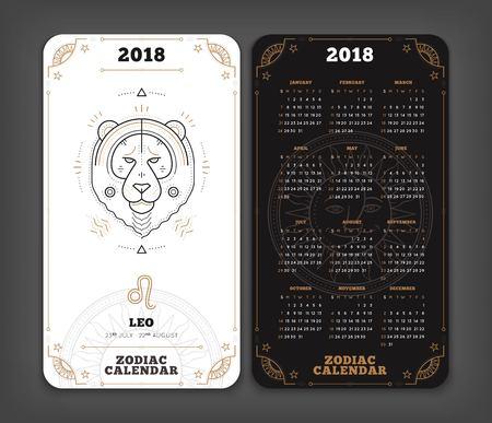 레오 2018 년 조디악 달력 주머니 크기 세로 레이아웃. 더블 측면 흑백 색상 디자인 스타일 벡터 개념 그림.