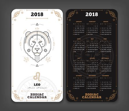 Leo 2018 year zodiac calendar pocket size vertical layout. Double side black and white color design style vector concept illustration. Çizim