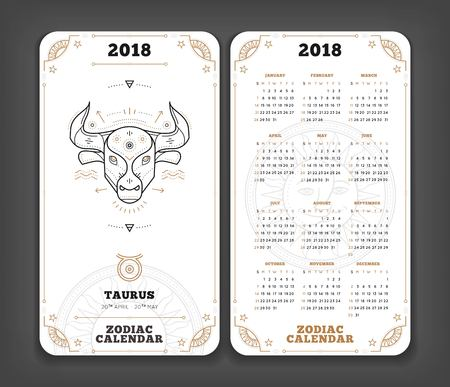 2018 년 황소 자리 주년 달력 포켓 크기 세로 레이아웃. 이중 측면 화이트 컬러 디자인 스타일 벡터 개념 그림.