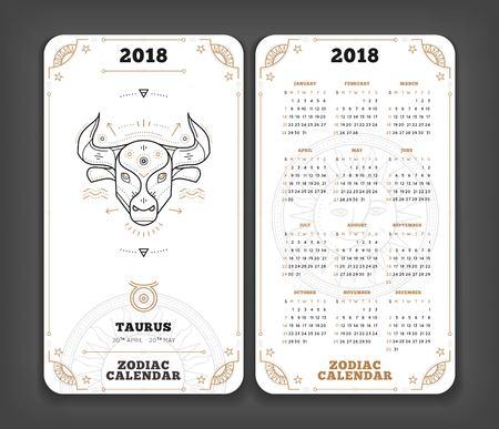 Taurus 2018 jaar zodiac kalender zakformaat verticale lay-out. Dubbele kant witte kleur ontwerp stijl vector concept illustratie. Stockfoto - 89405056