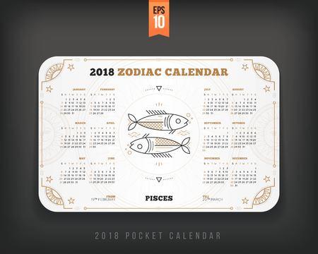 물고기 자리 2018 년 조디악 달력 포켓 크기 가로 레이아웃 화이트 색상 디자인 스타일 벡터 컨셉 일러스트 레이션