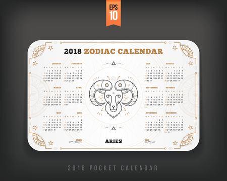 Aries 2018 year zodiac calendar pocket size horizontal layout