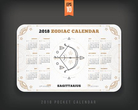 Sagittarius 2018 year zodiac calendar pocket size horizontal layout White color design style vector concept illustration