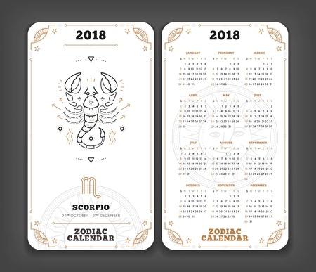 Schorpioen 2018 jaar zodiac kalender zakformaat verticale lay-out Dubbele kant witte kleur ontwerp stijl vector concept illustratie Stockfoto - 90108220