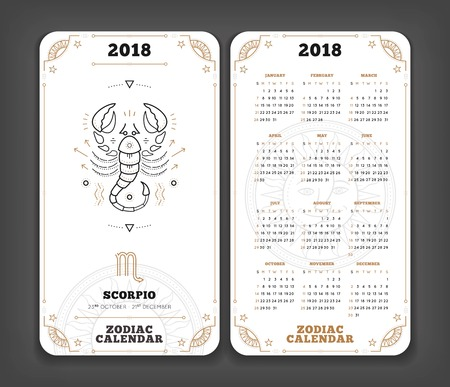 Scorpio 2018 year zodiac calendar pocket size vertical layout Double side white color design style vector concept illustration