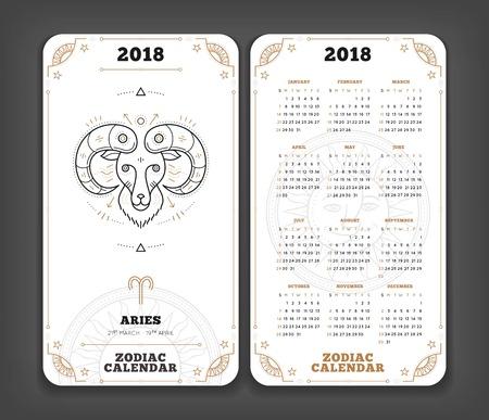 양자리 2018 년 조디악 달력 포켓 크기 세로 레이아웃 더블 측면 흑백 색상 디자인 스타일 벡터 개념 그림