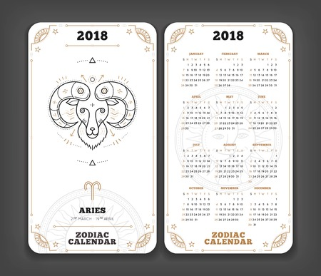 Aries 2018 year zodiac calendar pocket size vertical layout Double side black and white color design style vector concept illustration