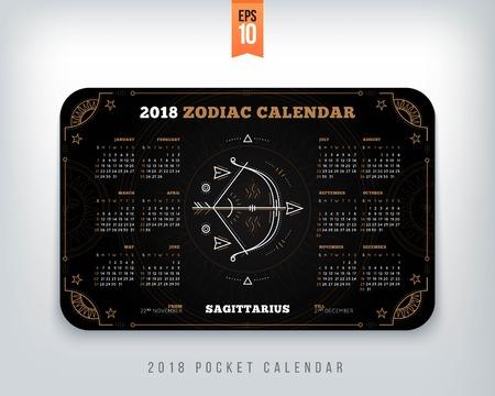 Boogschutter 2018 jaar dierenriem kalender zakformaat horizontale lay-out. Zwarte kleur ontwerp stijl vector concept illustratie Stockfoto - 89405059