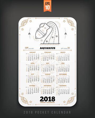 물병 자리 2018 년 조디악 달력 주머니 크기 세로 레이아웃. 화이트 색상 디자인 스타일 벡터 컨셉 일러스트 레이션