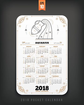 Aquarius 2018 year zodiac calendar pocket size vertical layout. White color design style vector concept illustration
