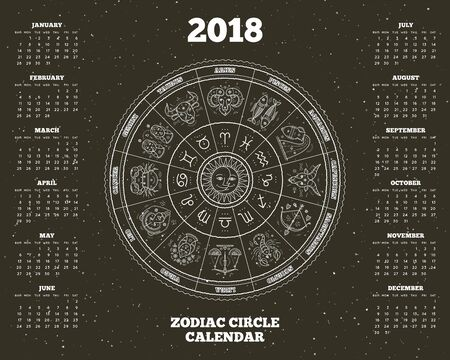 Zodiac circle 2018 year calendar poster vector illustration Stock Illustratie