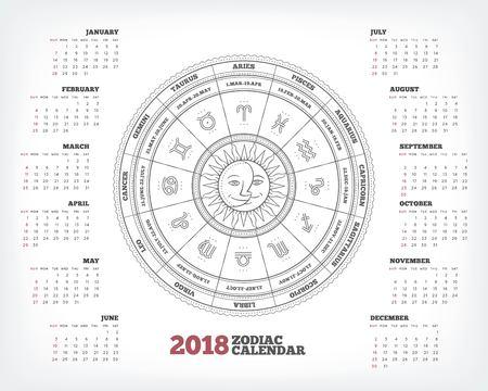 Zodiac circle 2018 year calendar poster vector illustration Stockfoto