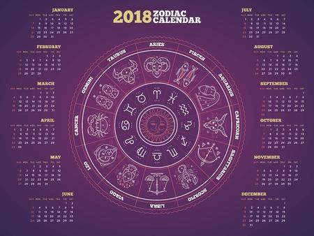 Zodiac circle 2018 year calendar poster vector illustration Stockfoto - 90180686