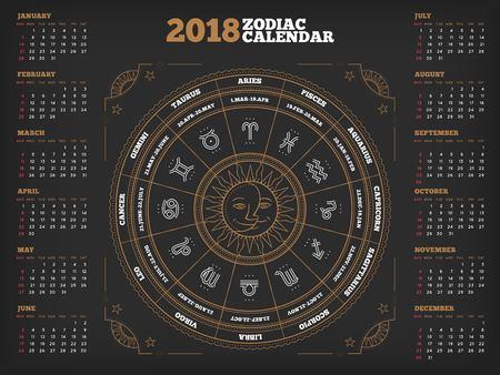 조디악 서클 2018 년 달력 포스터 벡터 일러스트 레이션