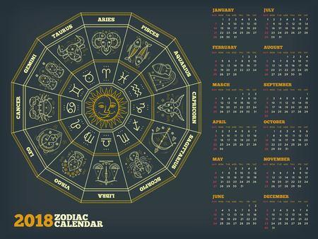 Zodiac cirkel 2018 jaar kalender poster vectorillustratie Stockfoto - 89470494