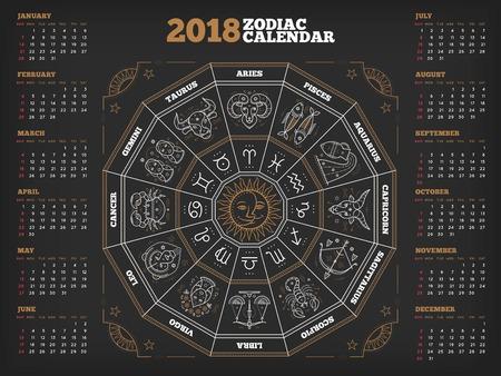 Zodiac circle 2018 year calendar poster vector illustration Archivio Fotografico