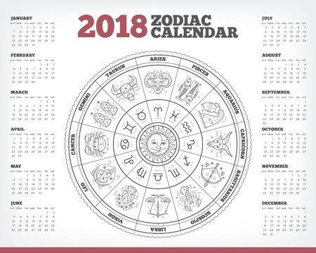 Zodiac circle 2018 year calendar poster vector illustration Stockfoto - 90180692