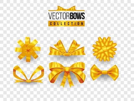 Set of isolated vector bow knots. Elegant golden ribbons collection. Silky decoration elements.