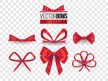 Set of isolated vector bow knots. Elegant red ribbons collection. Silky decoration elements. Vettoriali