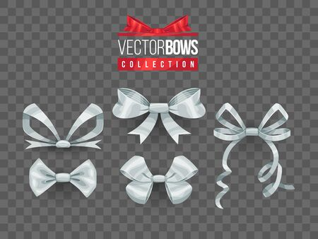 Set of isolated vector bow knots. Elegant silver ribbons collection. Silky decoration elements. Stock Illustratie