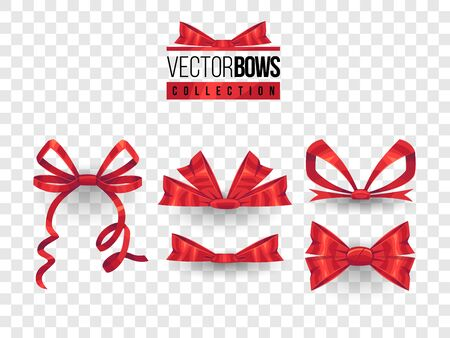 Set of isolated vector bow knots. Elegant red ribbons collection. Silky decoration elements. Stock Illustratie