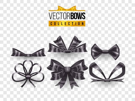 Set of isolated vector bow knots. Elegant black ribbons collection. Silky decoration elements. Vettoriali