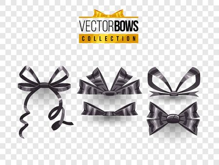 Set of isolated vector bow knots. Elegant black ribbons collection. Silky decoration elements. Illustration