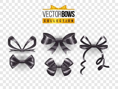 Set of isolated vector bow knots. Elegant black ribbons collection. Silky decoration elements. Stock Illustratie