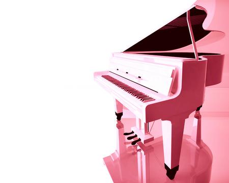piano closeup: Pink grand piano on a white background.