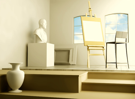 vase plaster: Studio of the artist. Stock Photo