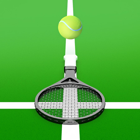 racket: Tennis ball and tennis racket on a tennis court. Stock Photo