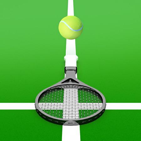 tennis racket: Tennis ball and tennis racket on a tennis court. Stock Photo