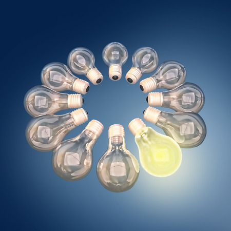 consultancy: Light bulbs around on a blue background.