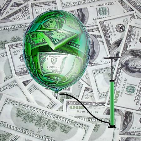 money sphere: Sphere, pump and money. Stock Photo