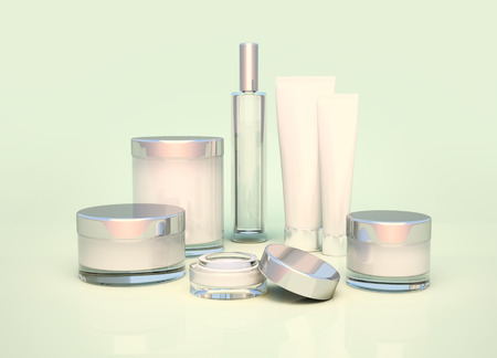 basic care: Daily, beauty care cosmetic. Face cream, eye cream, serum and lip balm. Skin care.