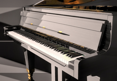 Grand piano on a scene.