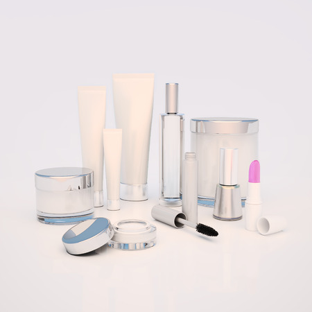 skin care products: A face cream, skin cream round eyes, serum and lip balm, lipstick, mascara, nail varnish. Care of skin.