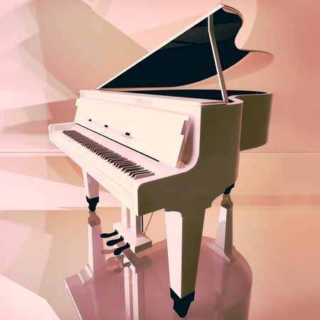 Grand piano on a pink background.
