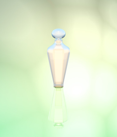 light green background: Perfume in a glass bottle on a light green background. Stock Photo