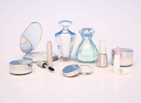 maquillaje de ojos: Conjunto de productos de maquillaje sobre fondo claro.