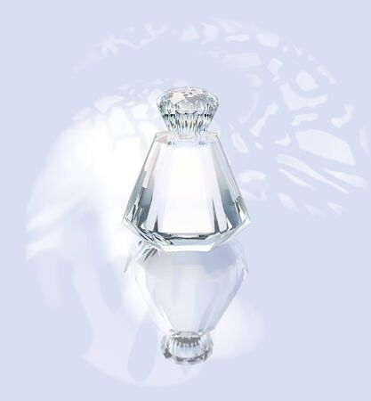 the silvery: Perfume in a glass bottle on a silvery background. Stock Photo